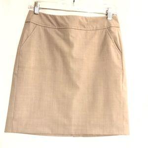 BANANA REPUBLIC Midi Tan Lined Pencil Skirt Sz 2P